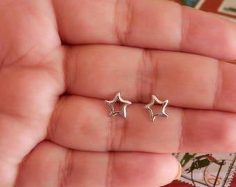 star earrings silver star earrings moon and star earrings sterling silver graduation gift silver stud earrings star earrings stud