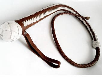 Leather Whip with Stinger / Whip Doble Colored BDSM Handmade Leather Whip Handmade Leather Whip One Tailed Whip BDSM toys