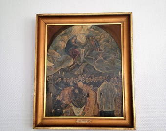 Reproduction oil - painting the funeral of Lord of Orgaz EL GRECO - Spanish masterpiece - vintage