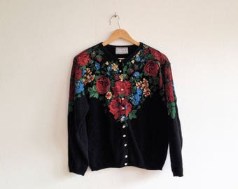 Black vest printed with colorful flowers - Kookai - Made in France - Vintage