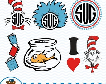 Cat in the Hat SVG DXF, Dr. Seuss Design, Cat in the hat Clip Art, Cat in the hat  Cutting Files, Instant Download ark-23
