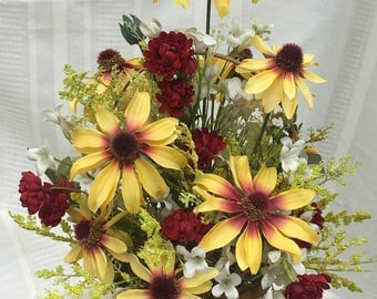 Home Decor, Flower Arrangement, Flower Basket, Artificial Flower Arrangement, Yellow Flowers, Burgundy Flowers, Basket, Fall Arrangement