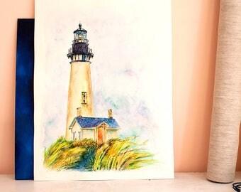 Lighthouse painting ORIGINAL beach house art Lighthouse watercolor Coastal home decor Watercolor lighthouse art Nautical lighthouse artwork