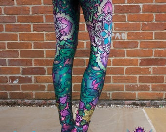 GREEN FLOWER LEGGINGS Psychedelic Clothing Festival Fashion Yoga Pants Psytrance Clothing Womens Rave Sacred Geometry Clothing Hippy Tights