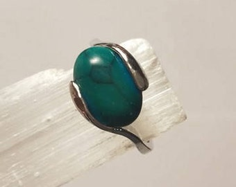 Blue Green Natural Stone Crystal Ring Silver 9 1/2 statement ring