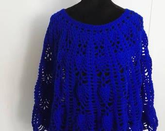 Poncho Cape crochet blue neon size 36/38