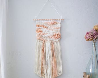Peachy Blush wall hanging \\ Weave \\ MTO \\ woven wall hanging \\ tapestry \\ handwoven wall art \\ nursery decor