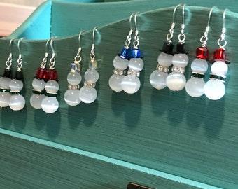 Christmas Earrings, Snowman Earrings, Frosty the Snowman Earrings, Swarovksi Earrings, Sterling Silver - Handmade