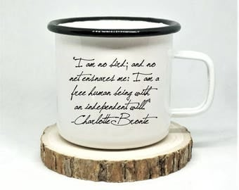 Jane Eyre Enamel Mug, 'I am no bird, and no net ensnares me,' Charlotte Bronte Mug, Literary Mug, Book Lover Mug, Jane Eyre Gift