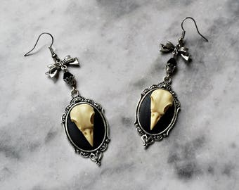 earrings faux skull crow ivory 3d cameo silver taxidermy replica resin anatomy animal gothic pagan occult macabre witch witchy witchcraft