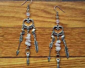 earrings spiral goddess half moon arrow feather silver gemstone chips rose quartz crystal celtic wicca pagan magic witch witchcraft witchy