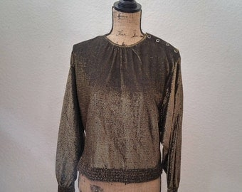 Vintage Black & Gold Batwing Disco Shirt