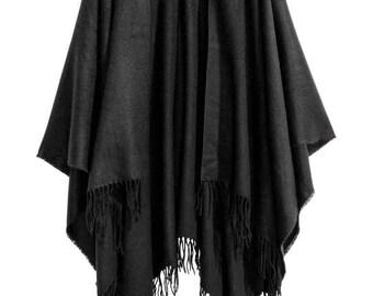 Black Poncho with fringe/ Cape Coat/ Women Ponchos/ One size poncho/ Plus size Coat
