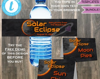 Solar Eclipse Water Bottle Labels & Food Tents 2-in-1 - Total Solar Eclipse 2017 Sun Moon Eclipse Party- Custom Printable INSTANT EDITABLE