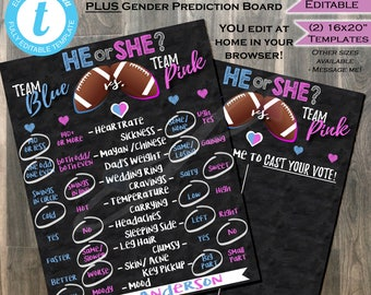 Football Gender Reveal Old Wives Tale & Matching Cast your Vote Board Signs- Team He Team She Chalkboard Baby INSTANT Self-EDITABLE 16x20