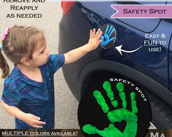 Safety Spot Kids Hand Car Magnet/ Toddler Child Handprint Car Safety/ Kids Car Safety/ Parking Lot Safety Handprint Safe Spot to Stand BLACK
