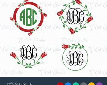 Flower Monogram, Rose svg, Flower monogram Svg, Rose Monogram Frame Svg, Svg Files for Silhouette Cameo or Cricut Commercial & Personal Use.