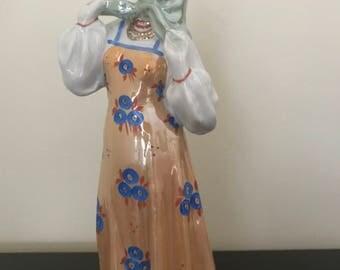 "Vintage Russian Porcelain Figurine ""Dancing Girl"", designed by sculptor A.D Brzhezitskaya, Dulevo Porcelaine Factory, 1950, Soviet Art, USSR"