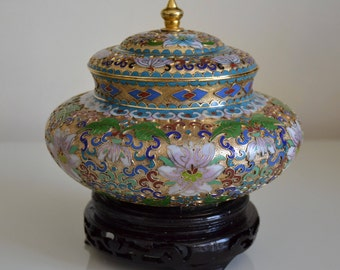 Vintage Collectible Cloisonne Vase with a Wooden Stand. China. c1950s.