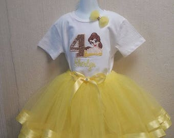 Personalized Birthday Eembroidered Beauty and the Beast Belle Shirt and Tutu