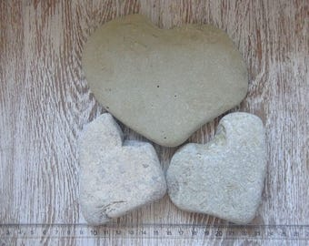 3 Large Heart Pebbles/Sea Stones Heart/Beach Heart Rocks/Natural Heart Rocks/Heart Stones/Heart Shaped Rocks/Wild Harvest/Heart Shape Pebble
