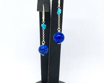 Lapis lazuli and turquoise earrings