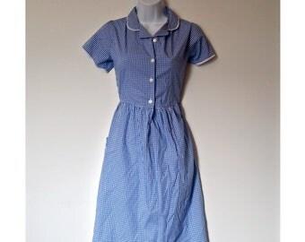 Vintage Peter Pan Collar Gingham Dress 90s - Size S, Small Sm Retro, 1950s 50s 60s 1960s, Schoolgirl Midi, School Girl Mididress, Pockets