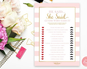 He Said She Said Printable Bridal Shower Game - Pink and Gold - Bridal Shower Game - Instant Download - RS001
