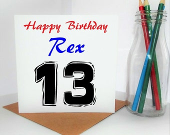 Birthday Card For Boy, Personalised 13th Birthday Card, Card For Teen, Son, Brother, Nephew, Grandson, Free UK Shipping