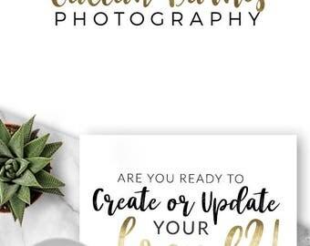 LOGO, Premade Logo, Design, Branding, Blog Header, Photography, Business, Boutique, Website, Camera, Photographer,  Gold, Script, 544