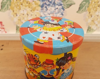 Vintage tin, Blue Bird Toffee . Circus themed, 1950s.