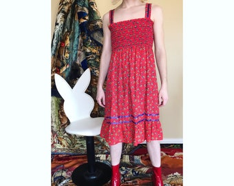 Vintage 70s floral cotton sun dress