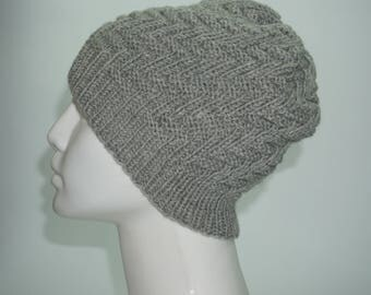 Knit beanie hat, gray knit beanie, Knitted hat in wool and acrylic, winter knitted hat, men hat, women hat
