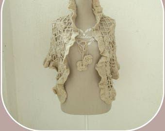 Beige shawl, crochet, flowers, shawl, flowers, veil