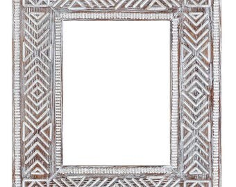 Tribal carving wood frame Aztec boho picture frame boho photo frame tribal photo frame tribal picture frame empty old frames wood boho frame