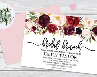 Bridal Brunch Invitation, Watercolor bridal invite, Floral Bridal Shower Card, Instant Digital Download File, Flower Bride DIY, Brunch 04