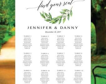 Wedding seating chart greenery, seating chart greenery, Green wedding seating chart, Wedding seating chart template, seating chart poster.