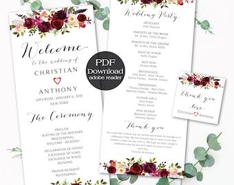 Wedding program template, Boho wedding program, Wedding ceremony programs, Wedding Program Fan, We do, ceremony programs, PDF Download - #28