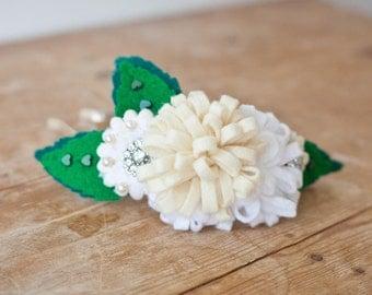Elegant Cream and Bling Felt Flower Girl Hair Accessory