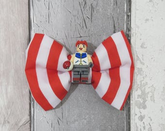 MiniFigure Pokemon Trainer Lego Dog Bow Tie, Dog clothing, Doggy Bow Tie, Puppy Bow Tie, Detachable Bow Tie, Slip on bow tie