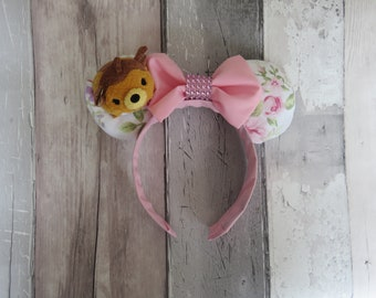 Bambi Tsum Tsum Floral Mickey Mouse Disneyland ears, Minnie ears, disney world, mouse ears, Mickey ears, disney ears