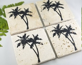 PALM TREE COASTERS | Stone Coasters | Beach decor | Beach gift | Beach lover | Hawaiian Gifts | Island Decor | Palm Springs | Summer Gift