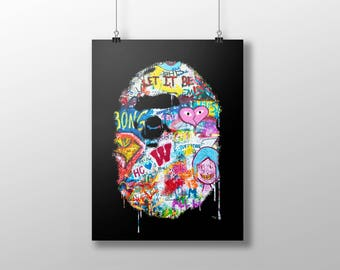 BAPE art poster, bape art print, graffiti new york, urban art, hip hop art, fashion art, ny art, supreme art poster, pop art, trendy art