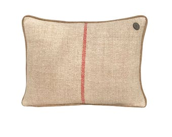 German Vintage Burlap-Linen mix Pillow with leather piping  -  18 x 13""