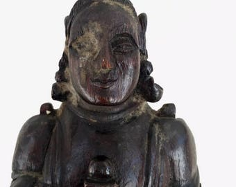 Antique Chinese Statue hand carved wood Man, STUNNING detail, very old -late 1800's? Warrior?  Priest? Monk?