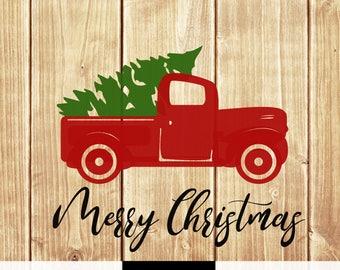 DIGITAL DOWNLOAD svg png boy girl shirt print merry christmas truck tree retro vintage winter holiday silhouette cricut cut file