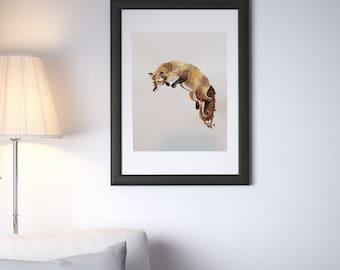 JUMPING FOX Art Print (200gsm, watercolor paper)