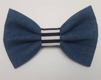 Denim/Black and White Stripe Dog Bow tie