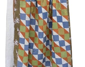 Kantha sari quilt, vintage kantha quilts, Rajasthani kantha quilt, Indian quilts, Indian kantha quilt, kantha, kantha throw,