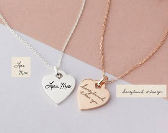 Handwriting Heart Necklace - Custom Heart Necklace - Signature Necklace - Memorial Jewelry - Custom Gift Custom Engraved Necklace For Women